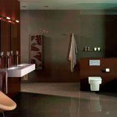 Baño porcelánico marrón gris Silestone