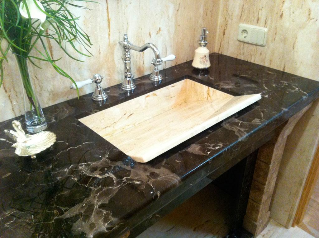 Encimeras de ba o marmoles y granitos beromar salamanca - Lavabos de marmol para bano ...